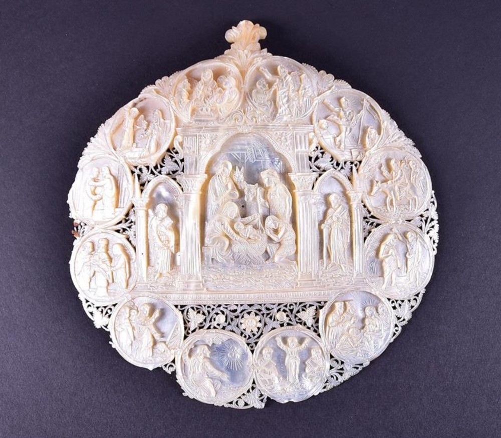 a finely carved 19th century motherofpearl devotional 'pilgrim's plaque'