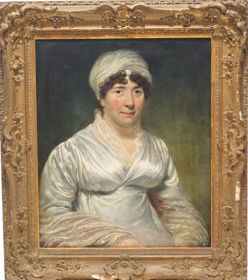portrait of a lady oil on canvas in original gilt swept frame