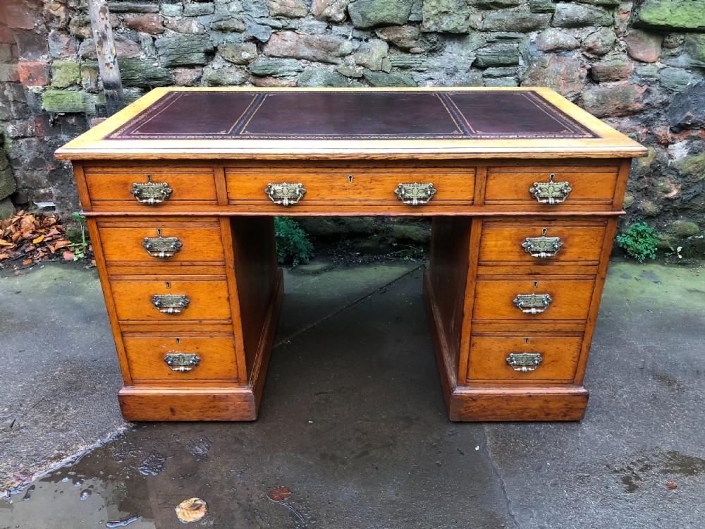 c19th golden oak pedestal desk
