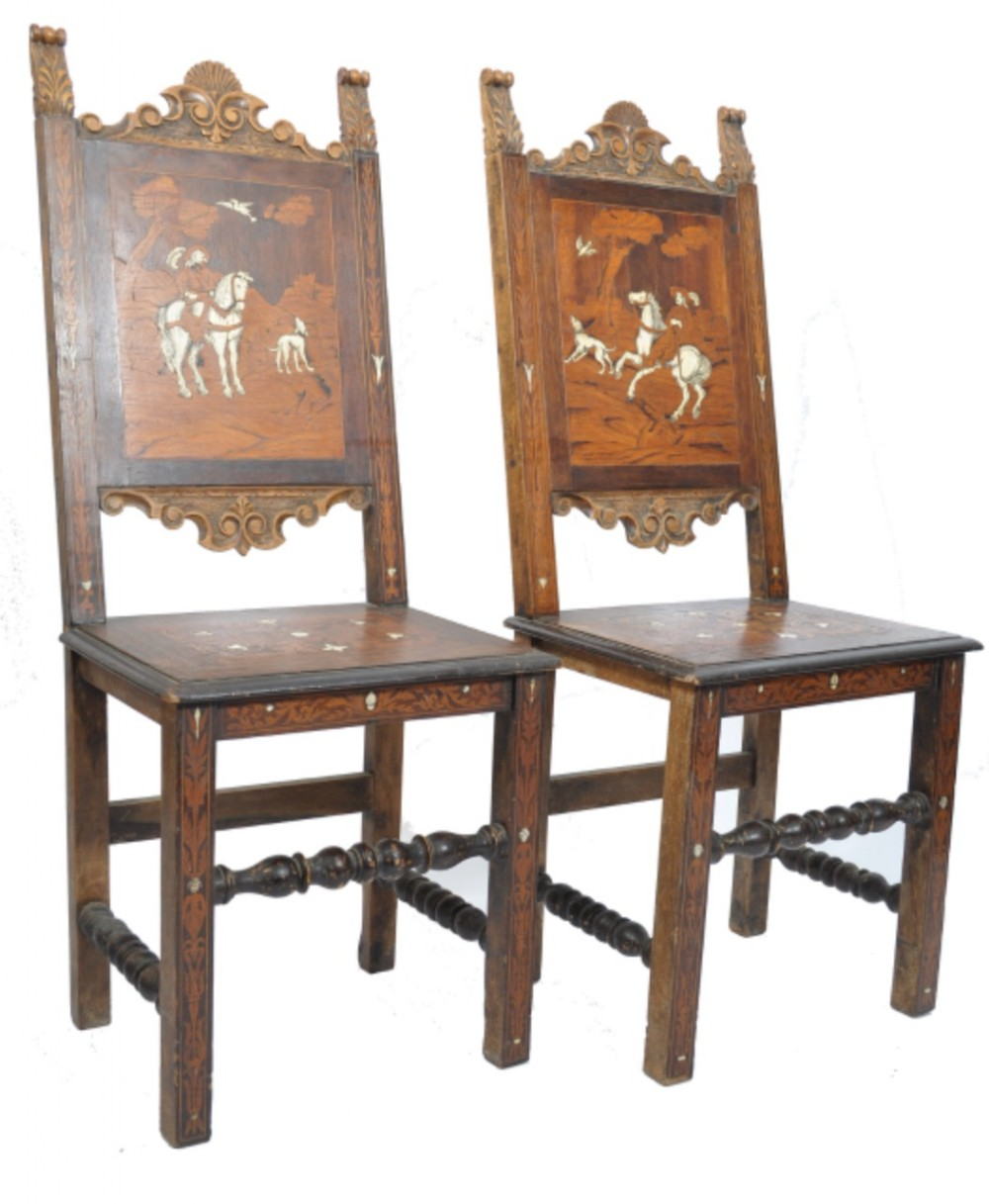 a pair of inlaid italian chairs