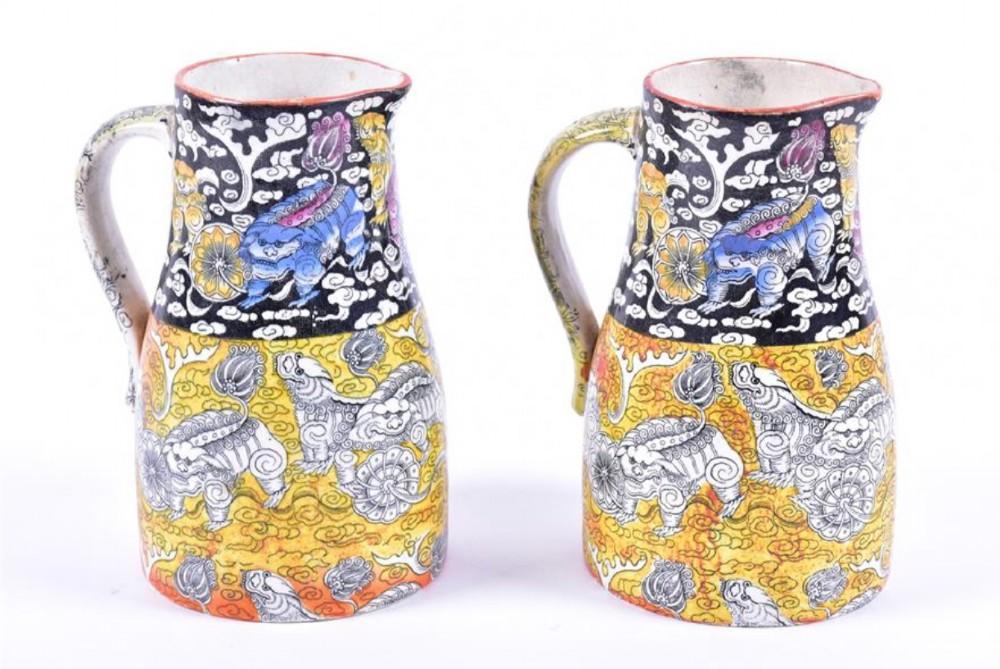 a pair of masons ironstone jugs