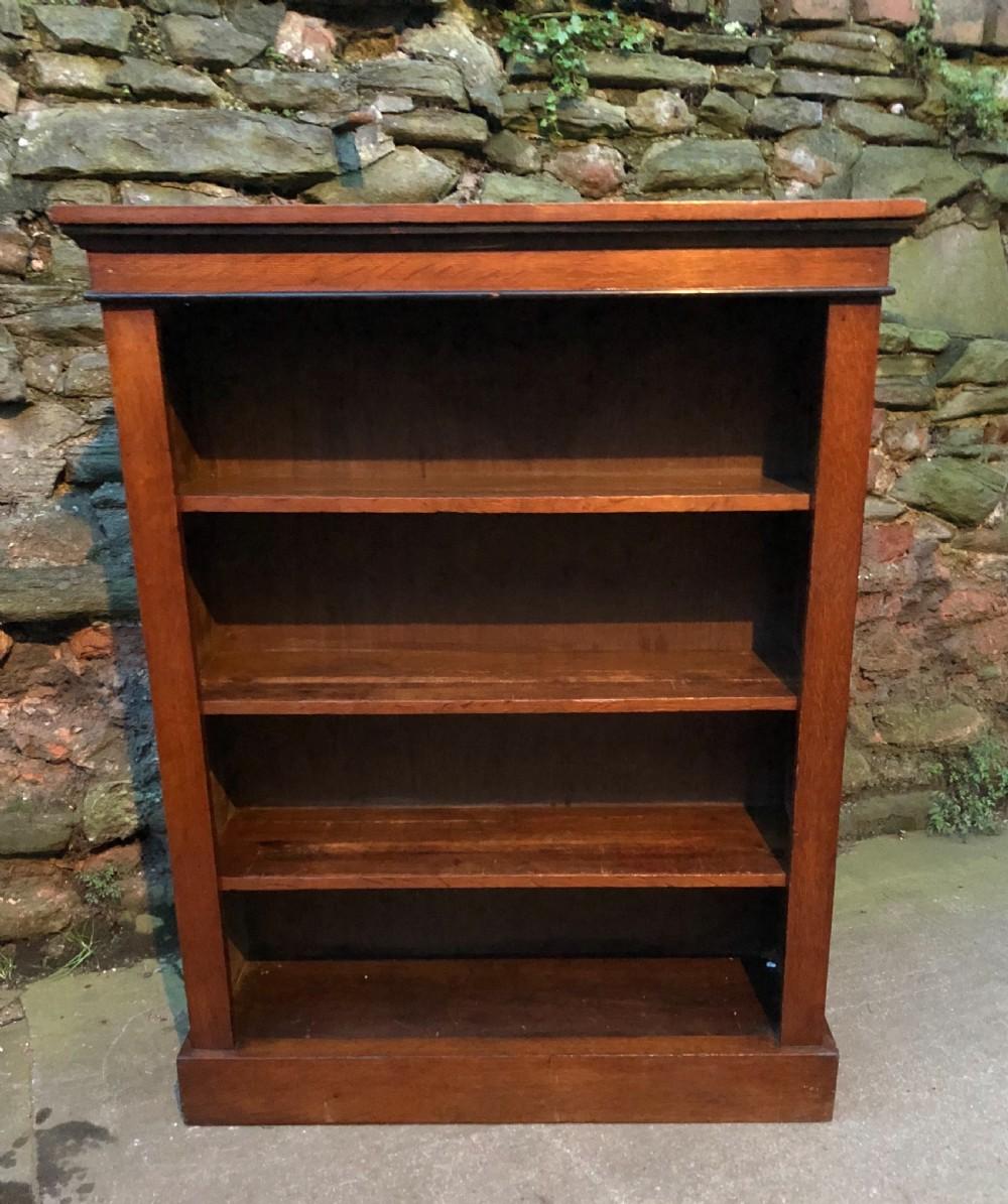 small c19th oak veneered bookcase