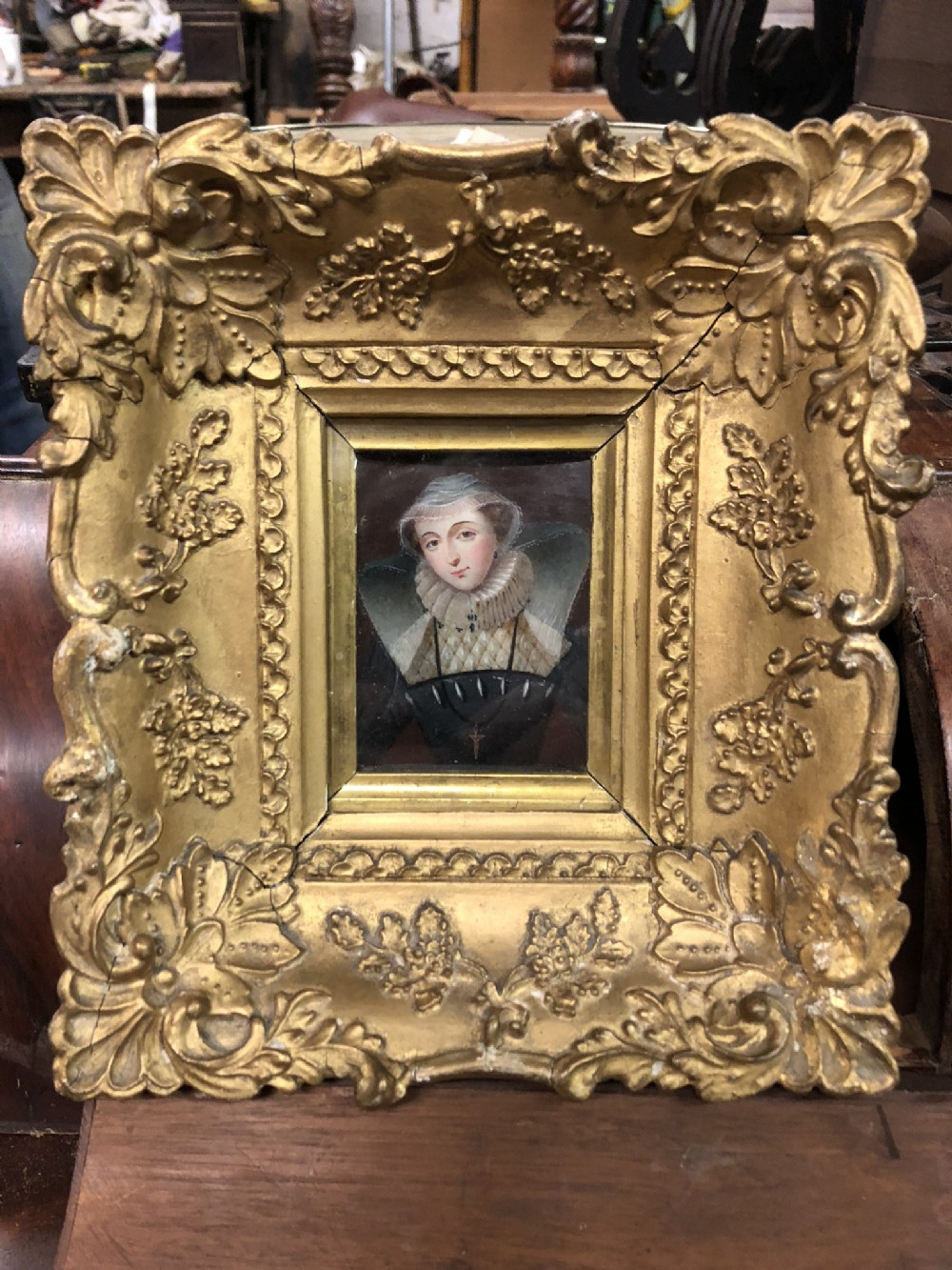 c19th framed miniature of mary queen of scots painted on ivory
