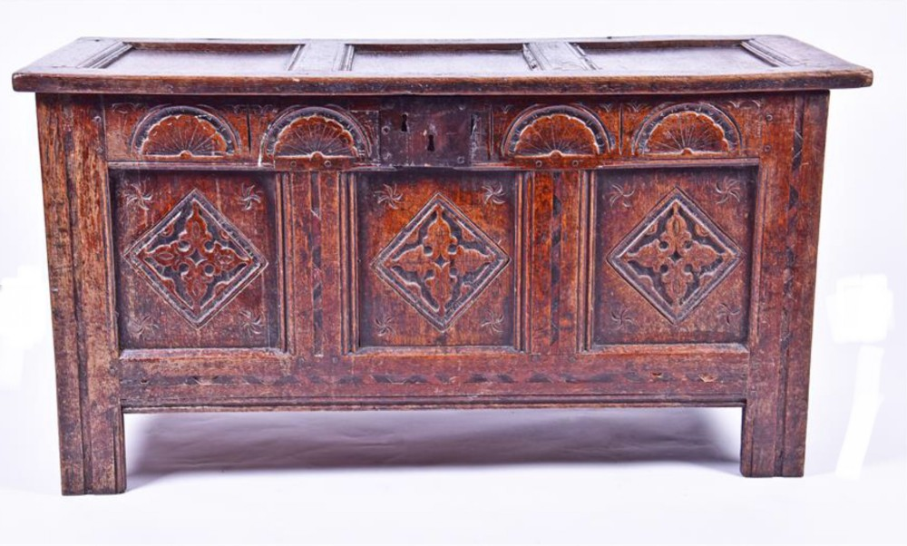 c17th carved oak three panel coffer
