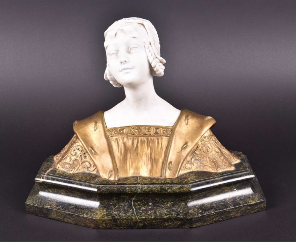 c19th french ormulo and parian bust on marble base