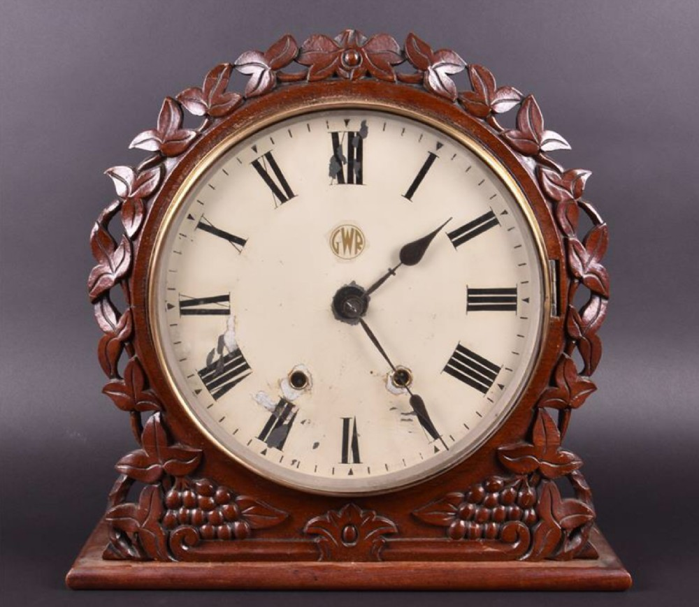 c19th mantle clock with painted face marked gwr