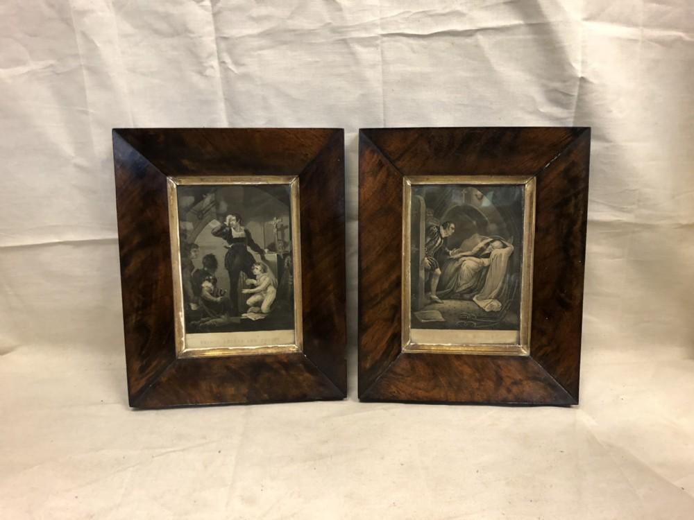 pair of framed engravings of shakespearean plays in mahogany frames