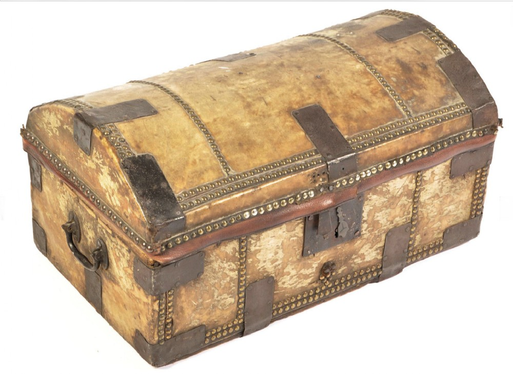 c19th pigskin carriage trunk