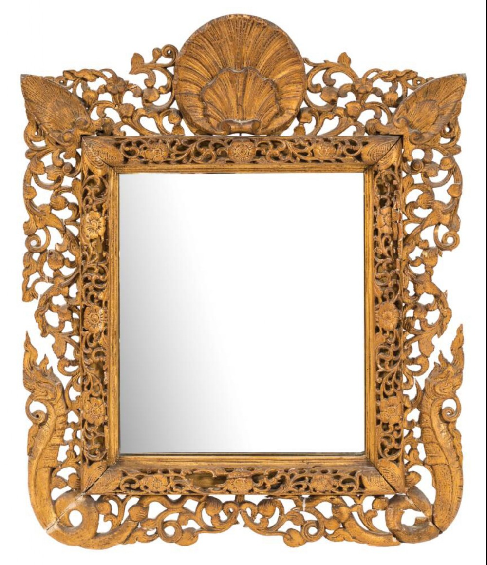c19th indian carved giltwood easel mirror