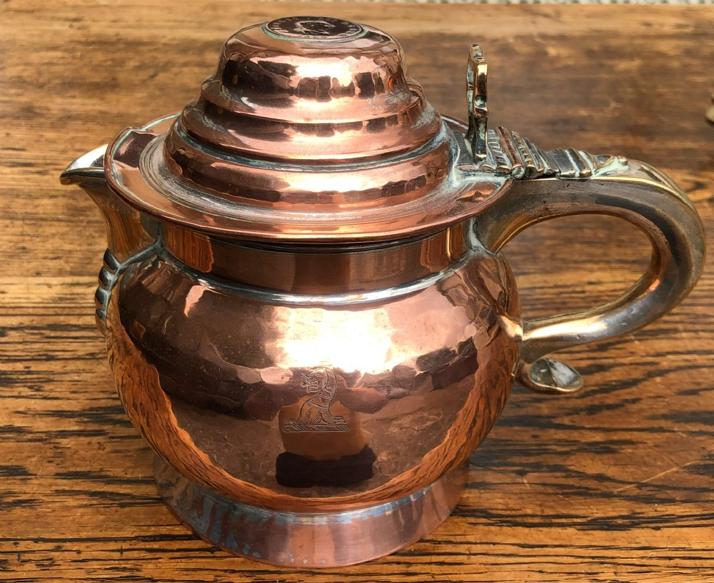 a george iii copper lidded jug dated 1807
