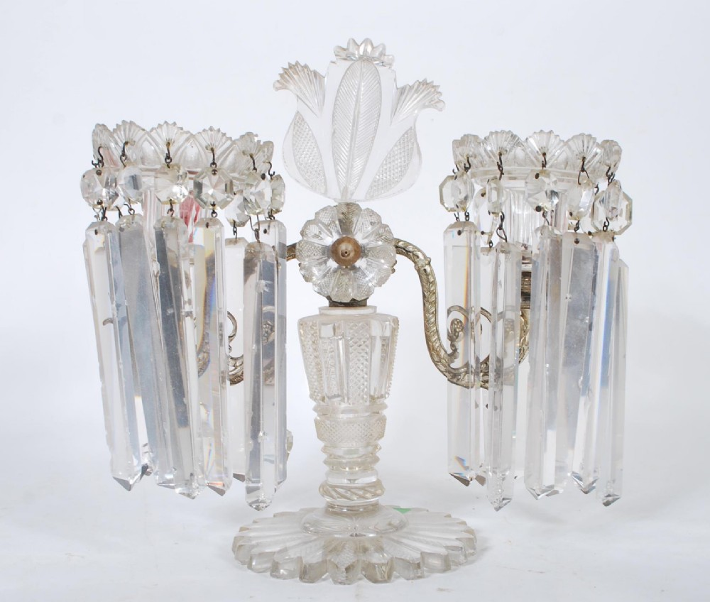 a regency scottish cut glass and silver plate table candelabra