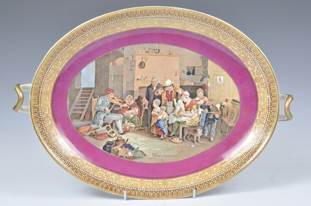 c19th prattware twin handled tazza with central panel being the blind fiddler by sir david wilkie