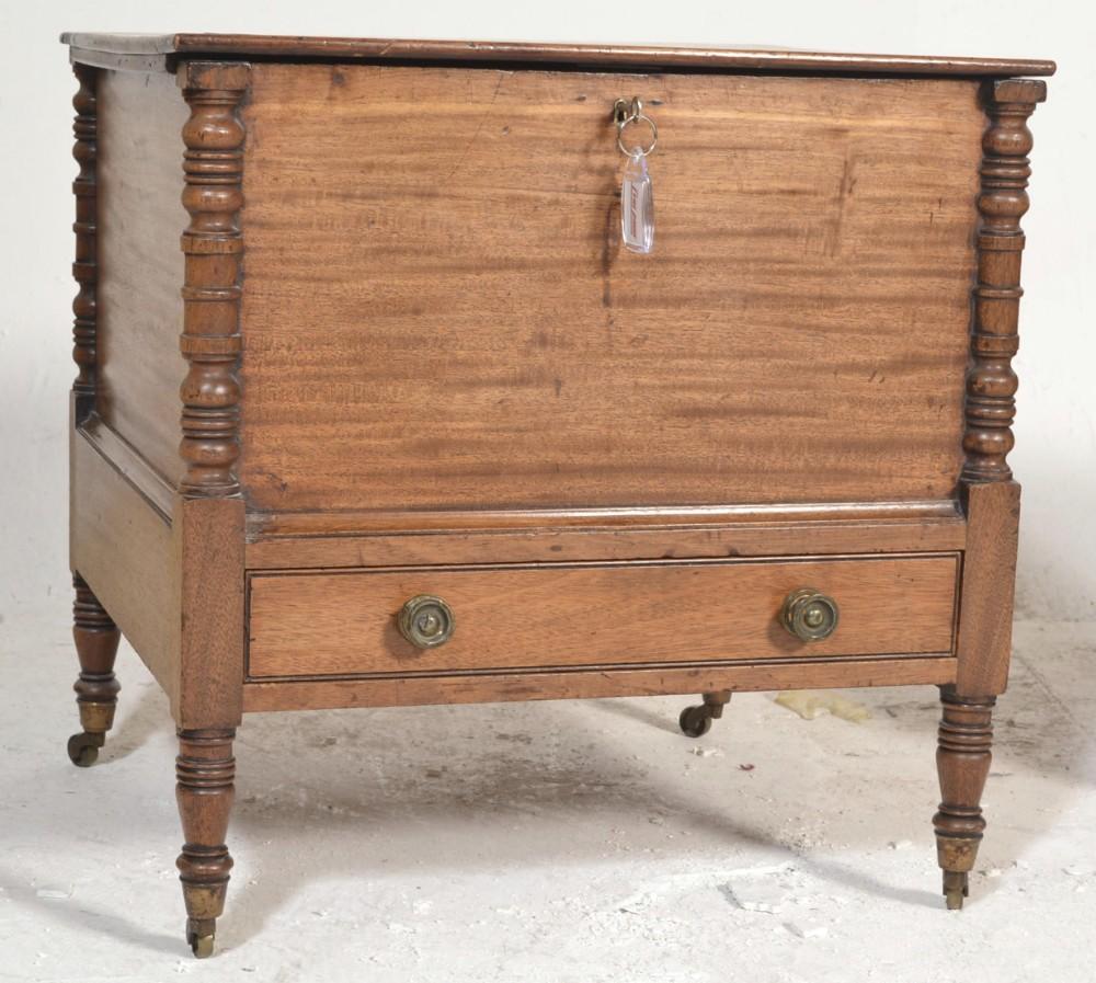 c19th mahogany canterbury of unusual closed box construction