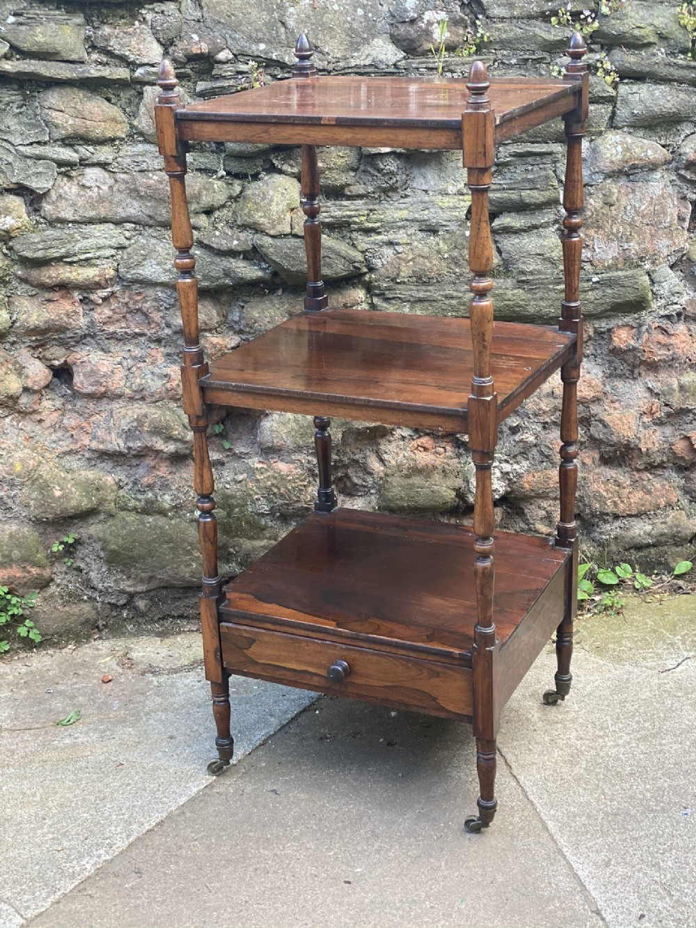 regency small rosewood etagere what not with single drawer