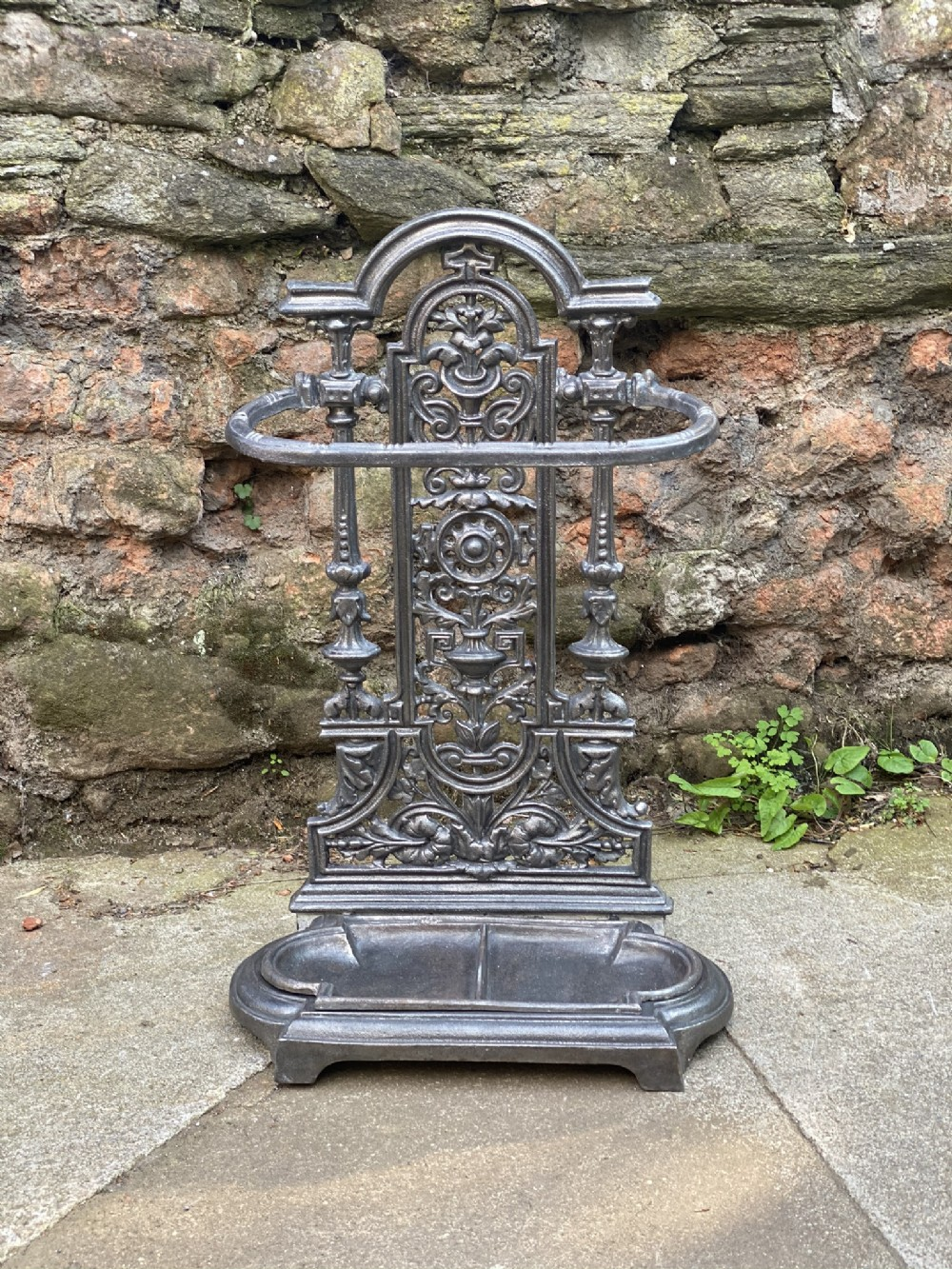 c19th cast iron umbrellastick stand in brushed steel finish