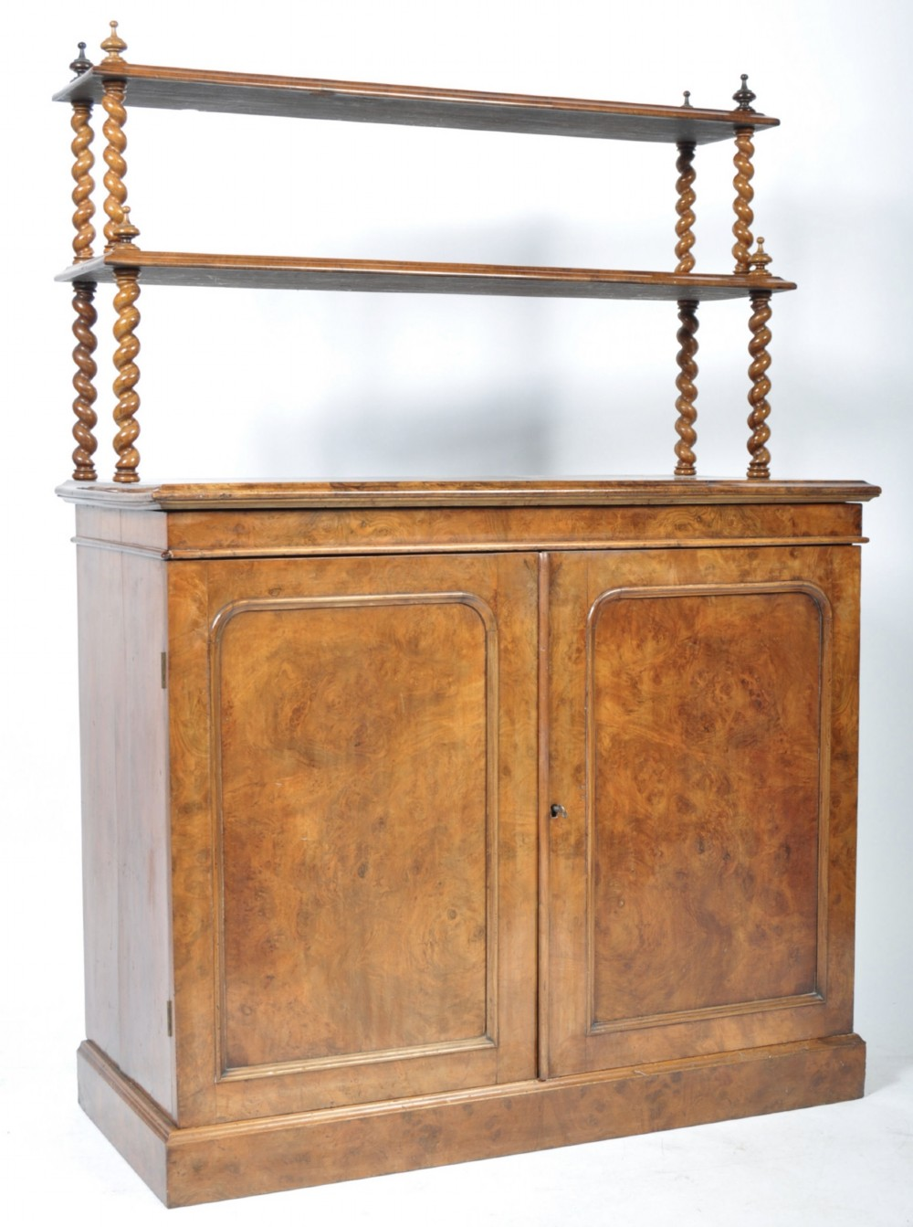 c19th burr walnut cabinet with shelves above