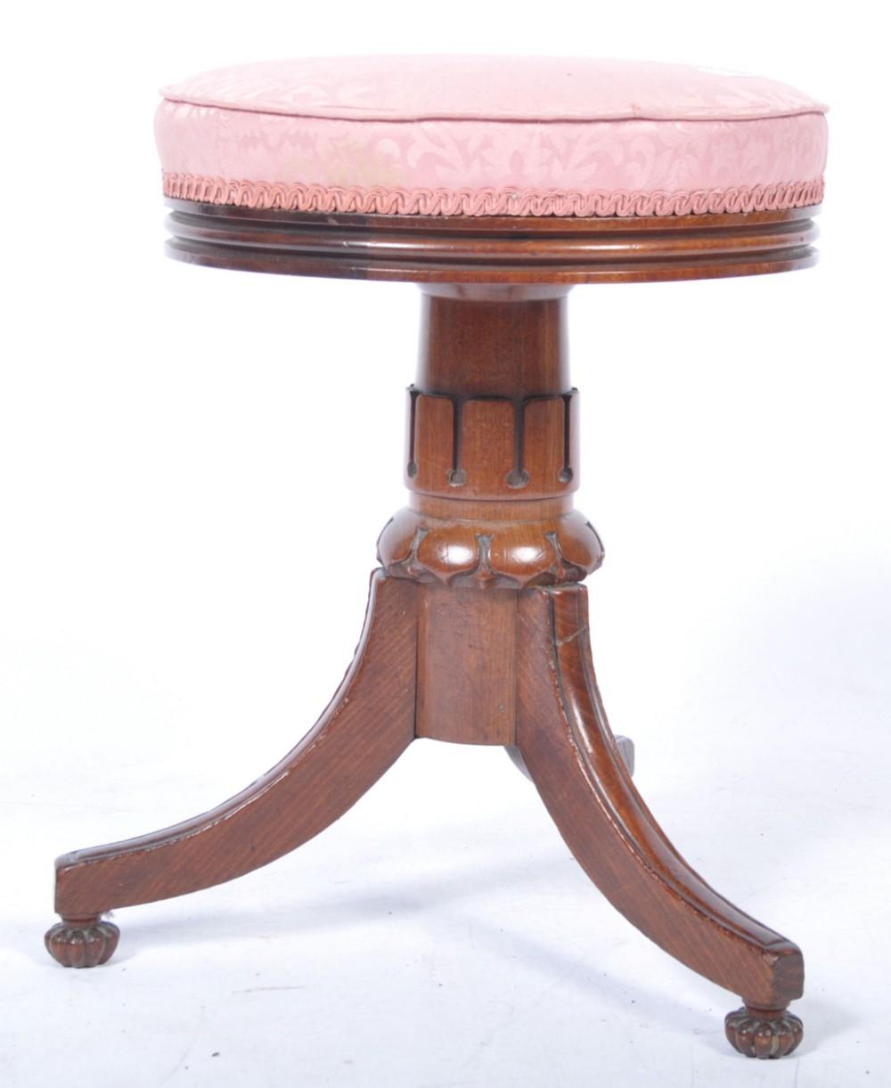 c19th mahogany piano stool