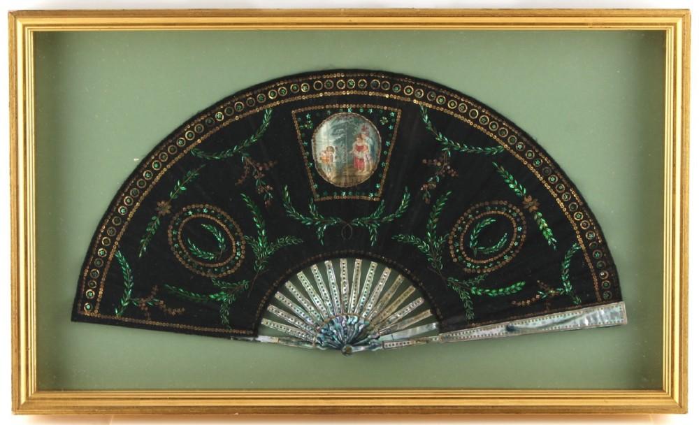decorative c19th early c20th fan in case