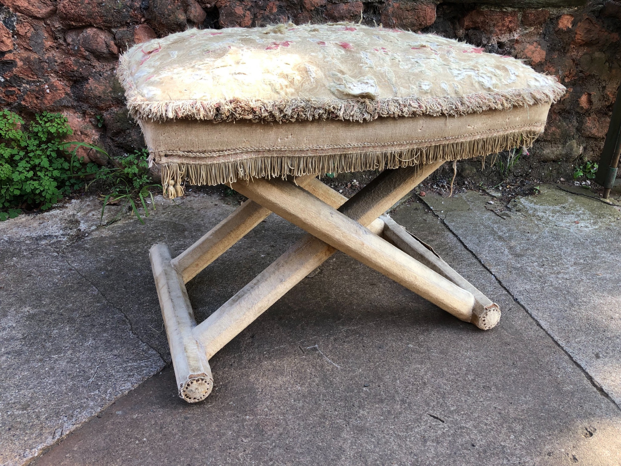 c19th material covered x framed stool