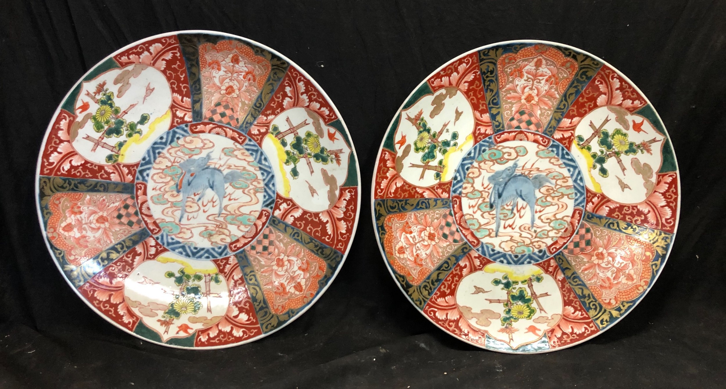 c19th pair of japanese imari chargers