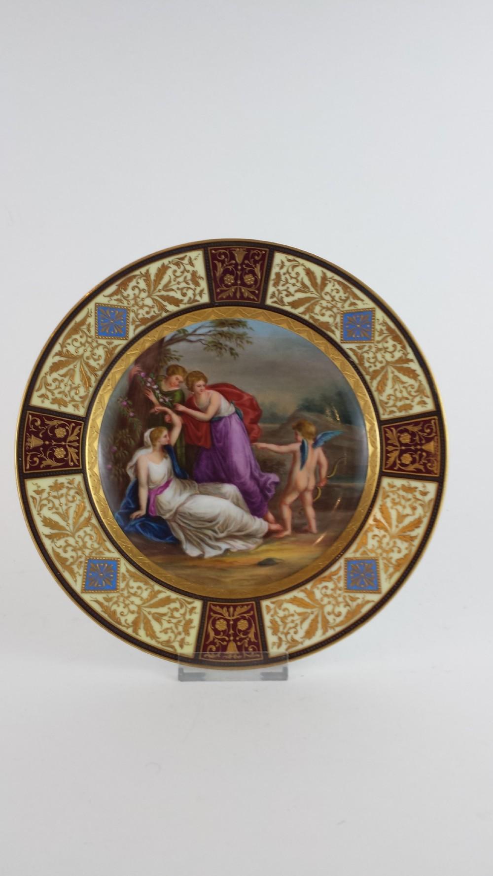 19th century hand painted vienna dish