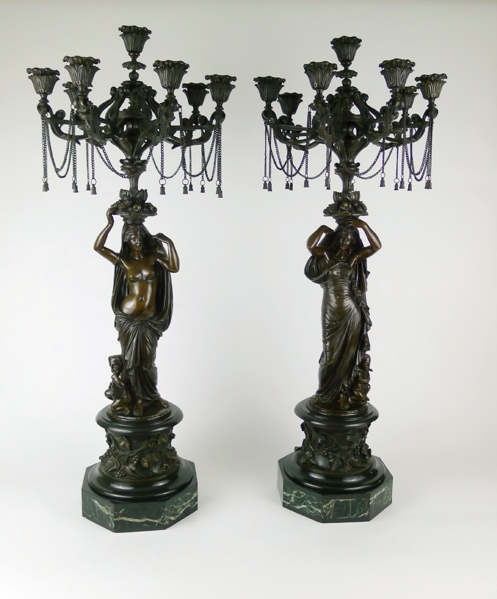 quality pair 19th century barbedienne french bronze candelabra