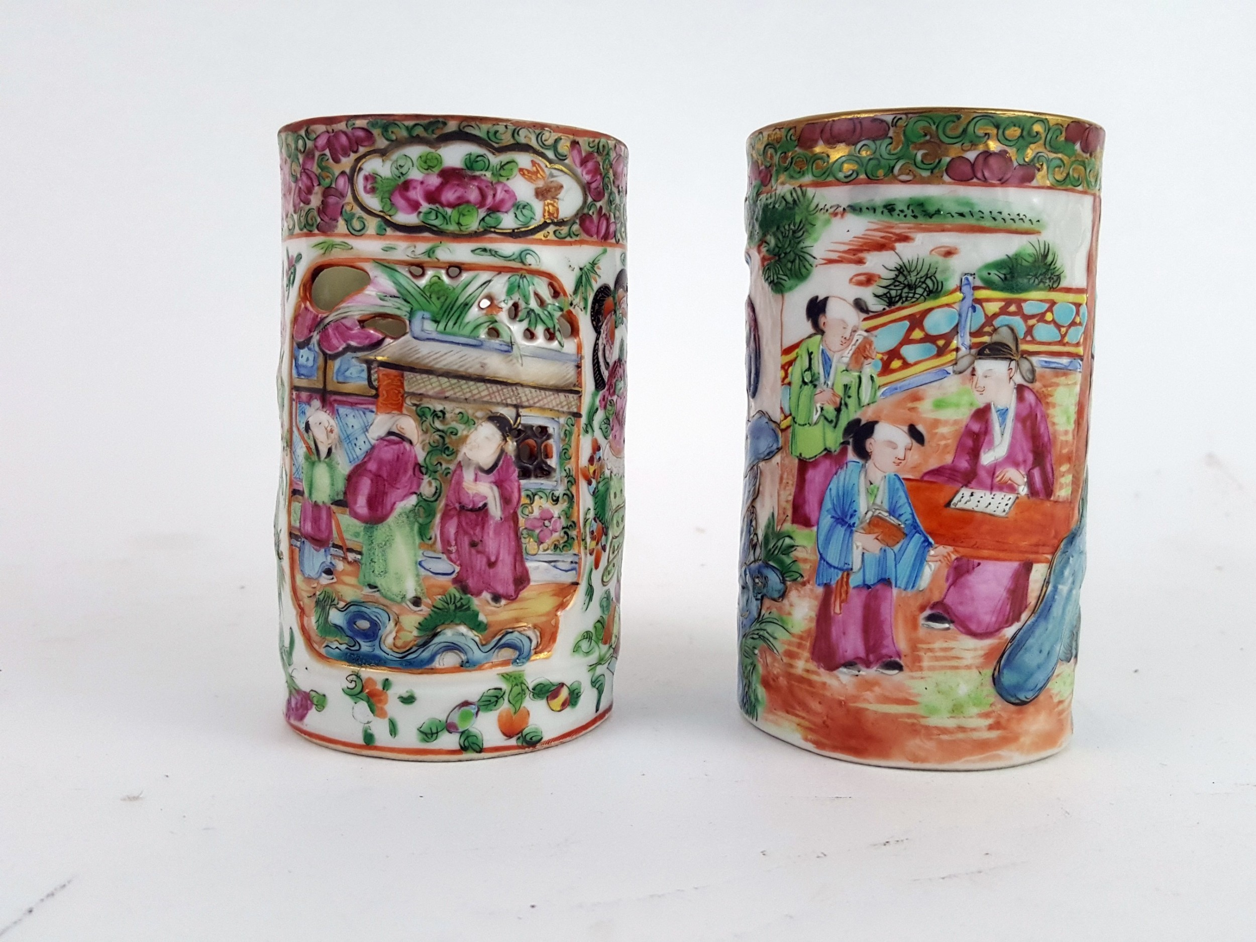 two 19th century chinese canton brush holders