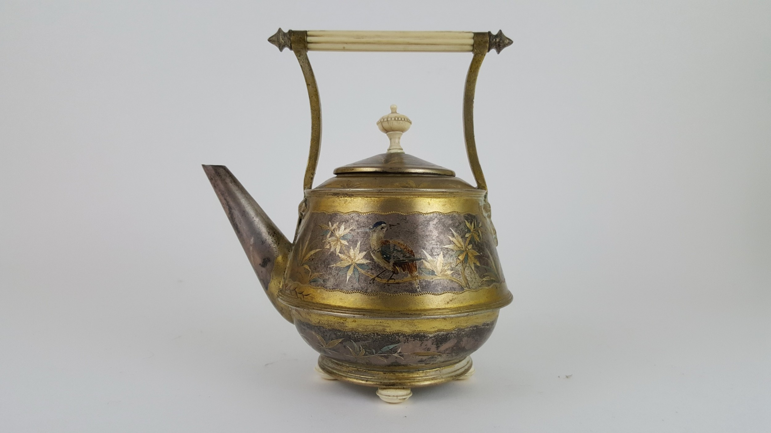 19th century english silver and gold plated tea pot