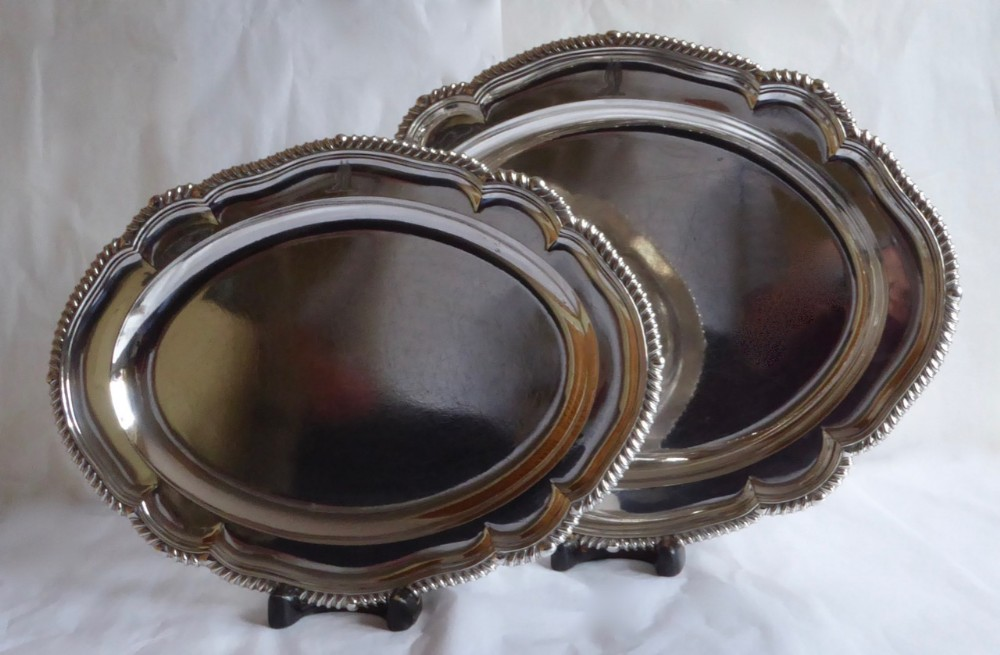 fine pair of oval victorian meat plates