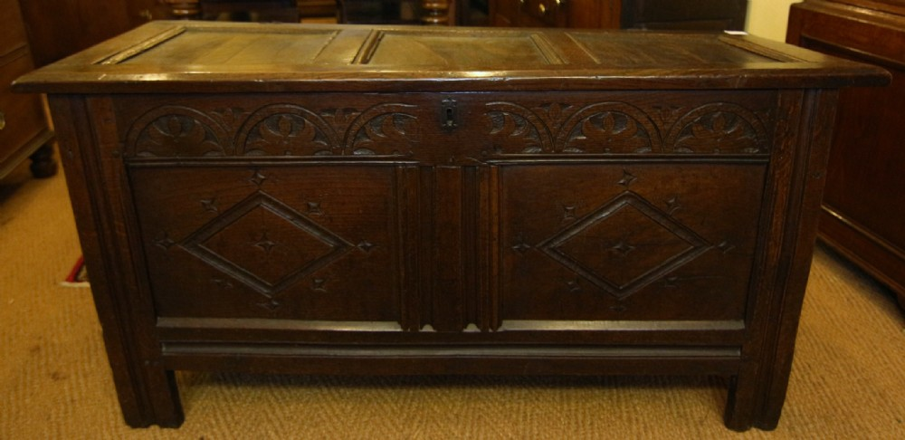 late 17th century carved oak panel coffer