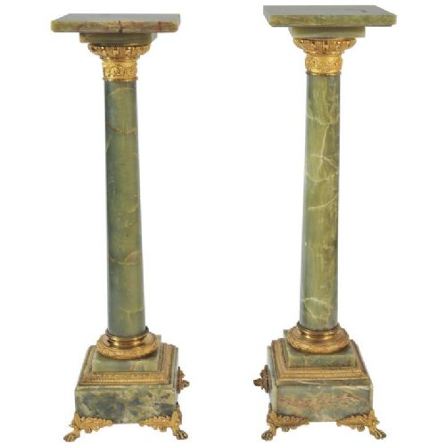 pair of 19th century green jade onyx columns