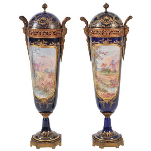 pair of 19th c important blue sevres lidded vases