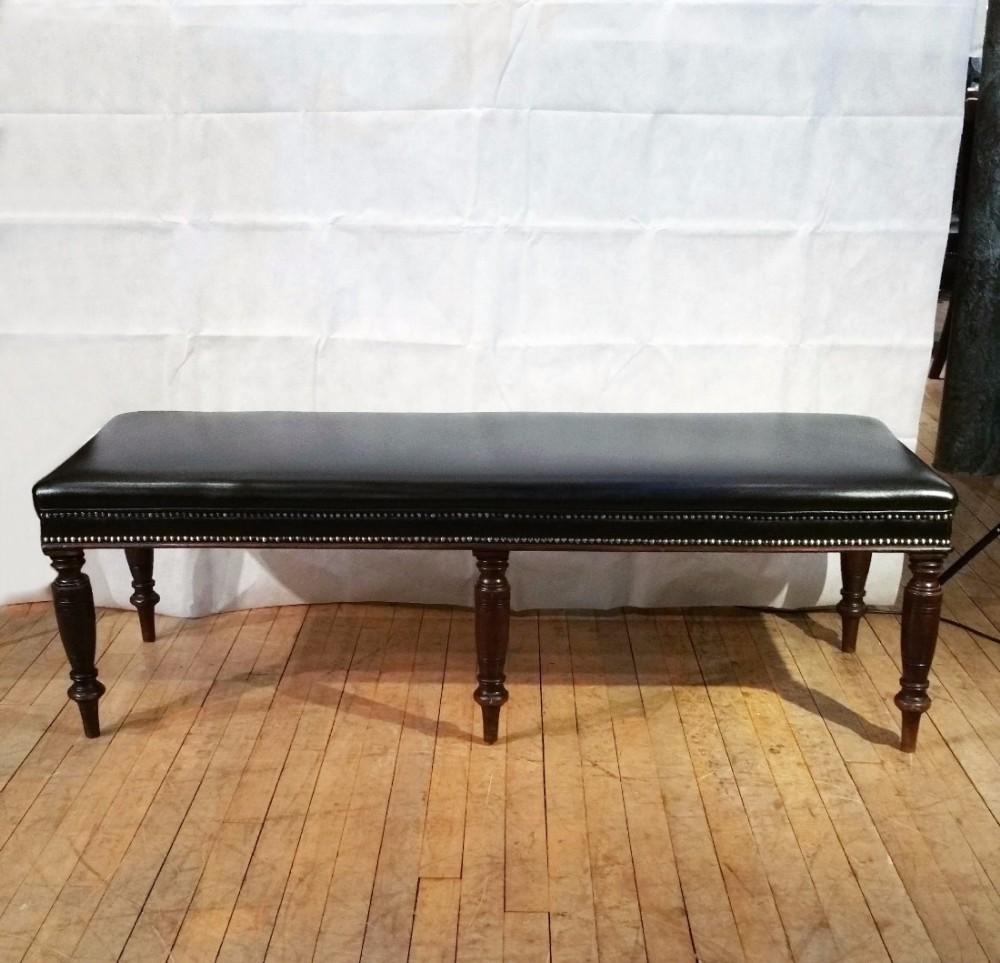 edwardian long black leather upholstered stool