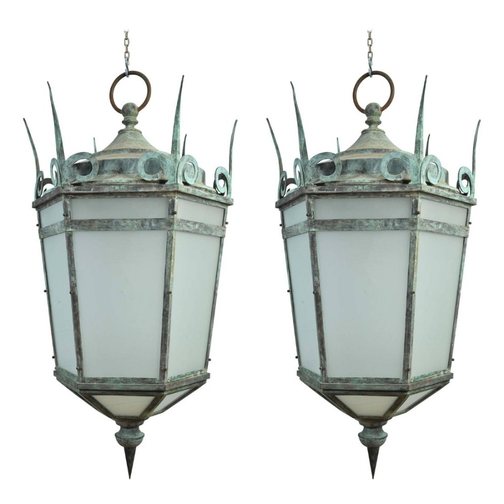 pair of grand size bronze lanterns