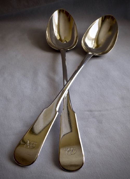 pair of george iii scottish fiddle design serving spoons