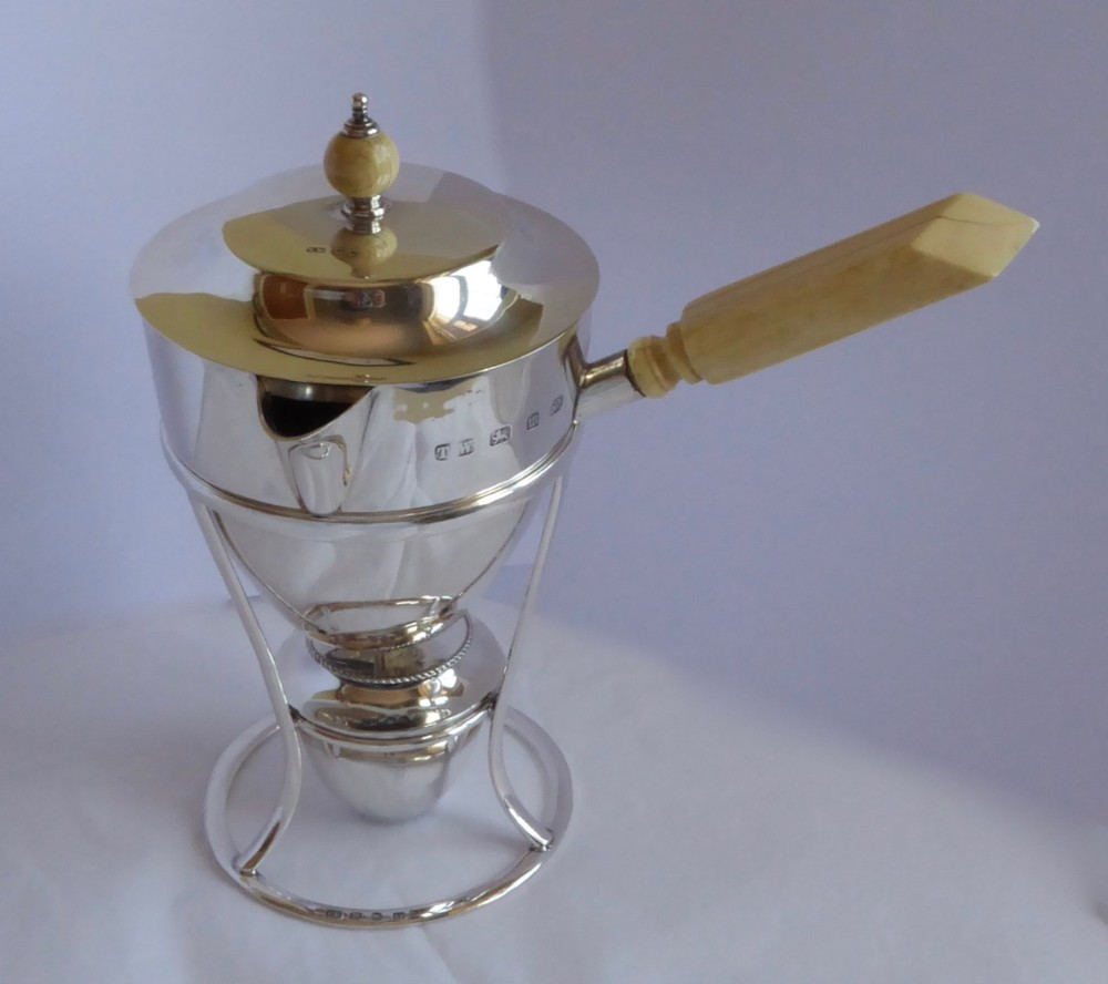 victorian brandy pan with coverburner and stand
