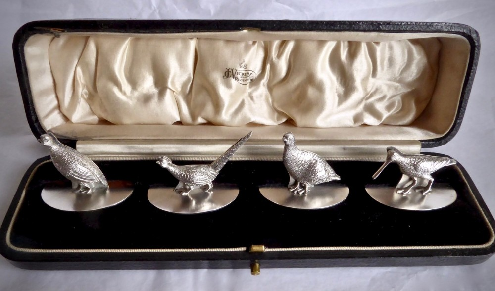 set of four menu place card holders game bird design in original fitted box