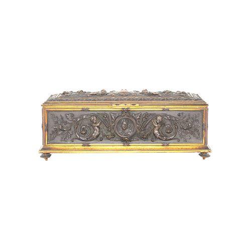 bronze high relief monogram casket