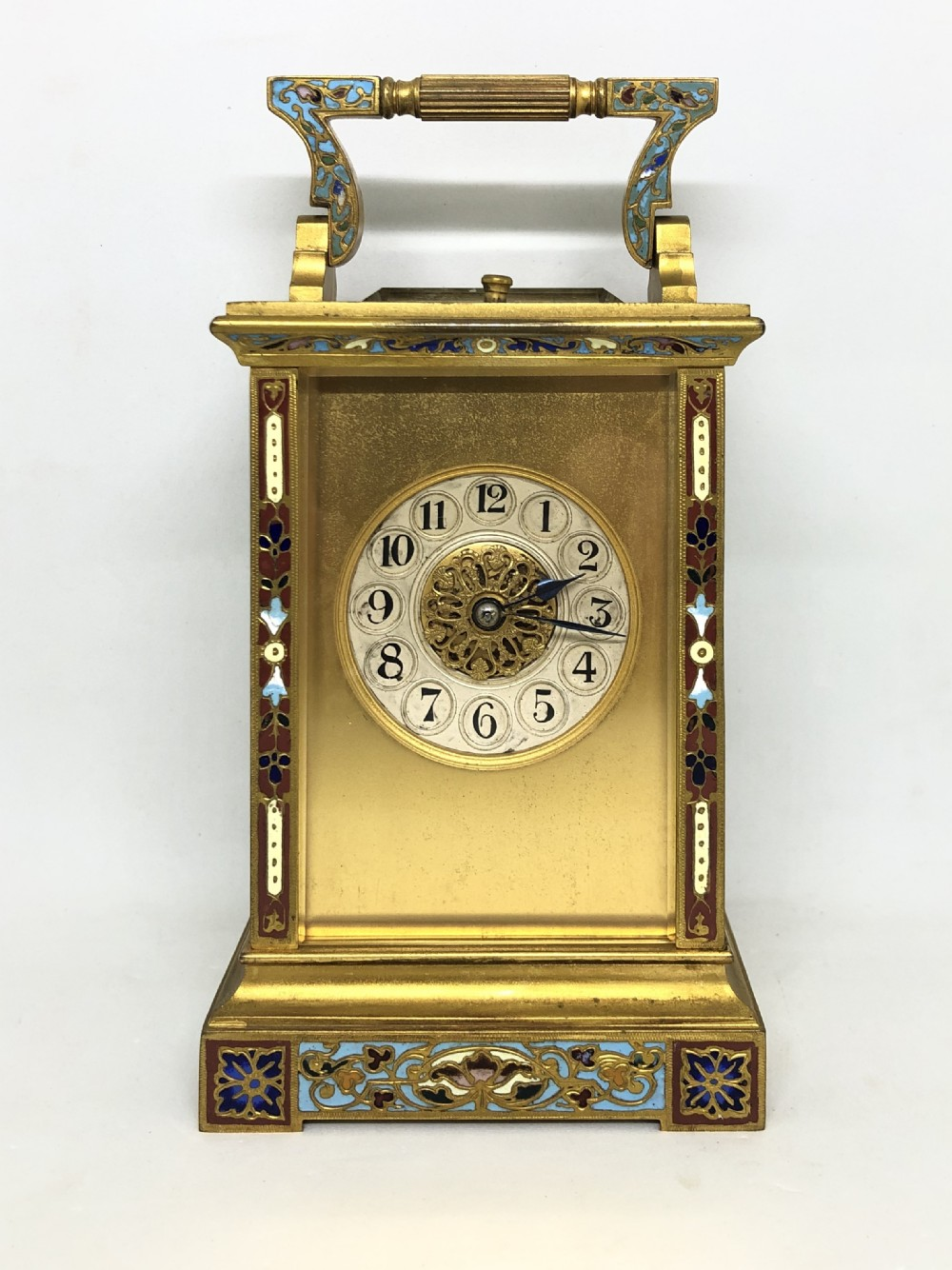1890 champleve repeating carriage clock