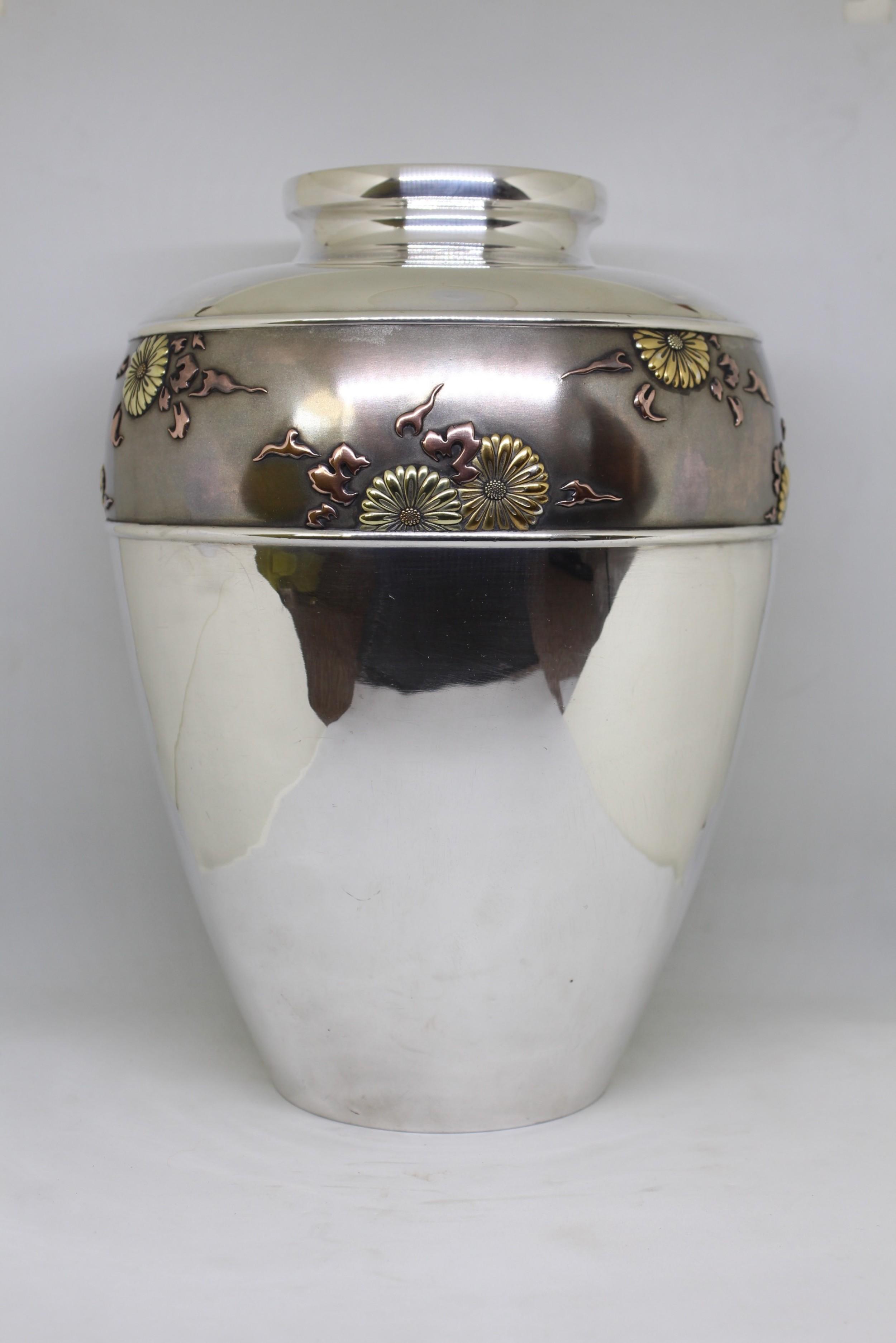 monumental japanese silver vase