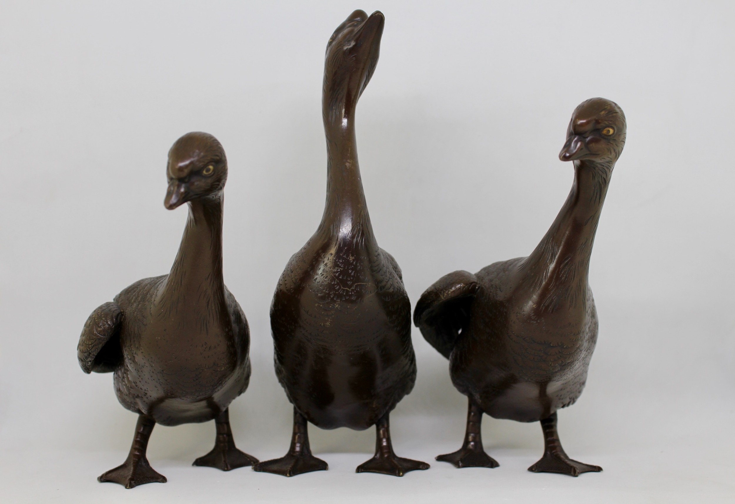 japanese bronze bird group