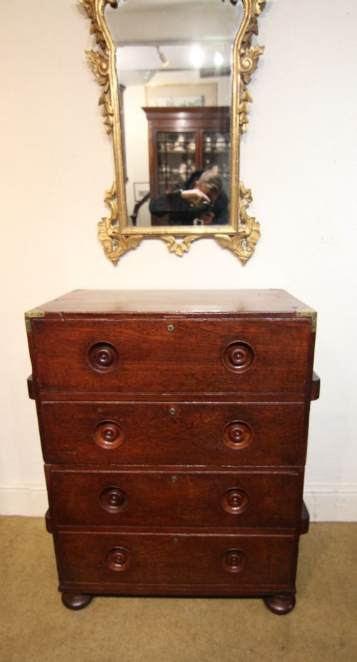 19th century campaign type two part teak chest of drawers