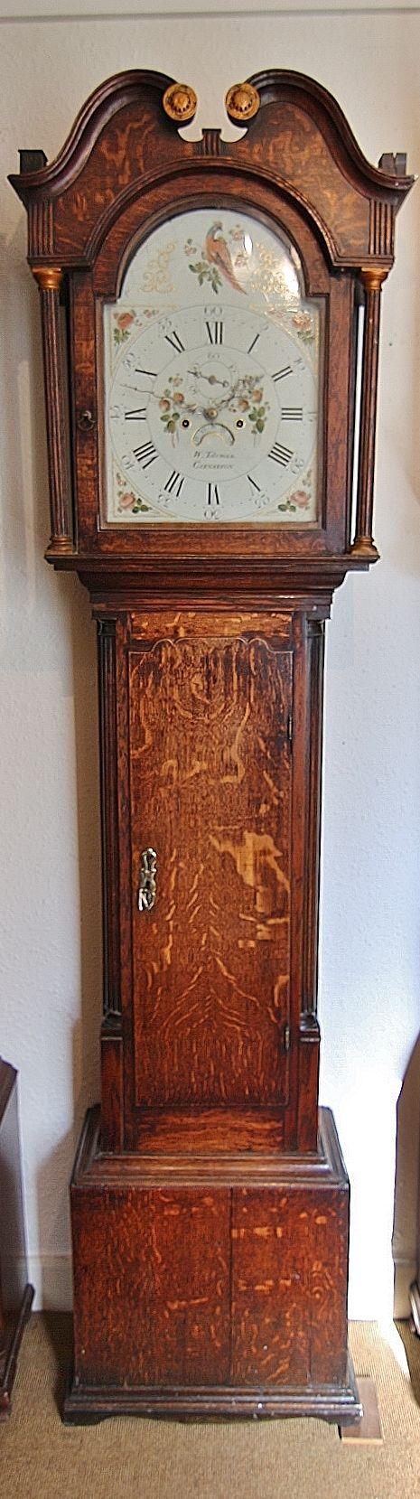 19th century welsh arch dial 8 day longcase clock ' toleman caernarfon'