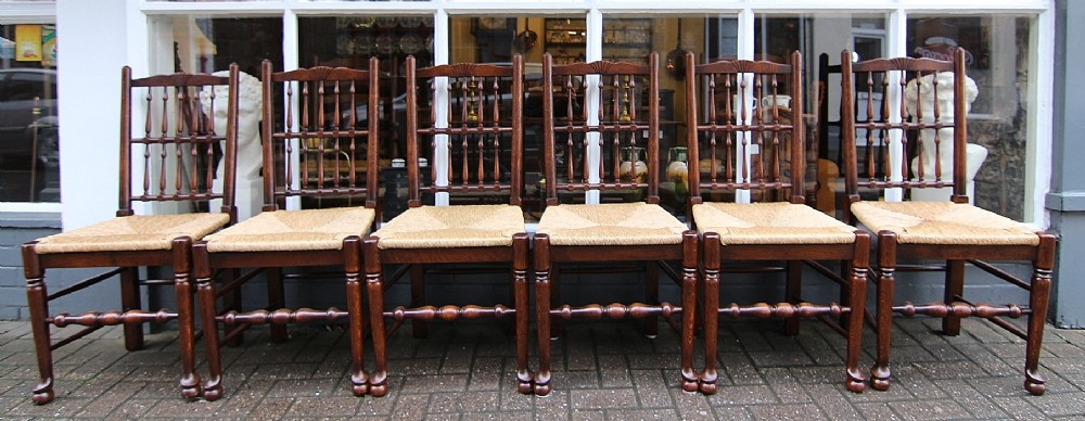 set of 6 georgian style rush seated spindle back chairs