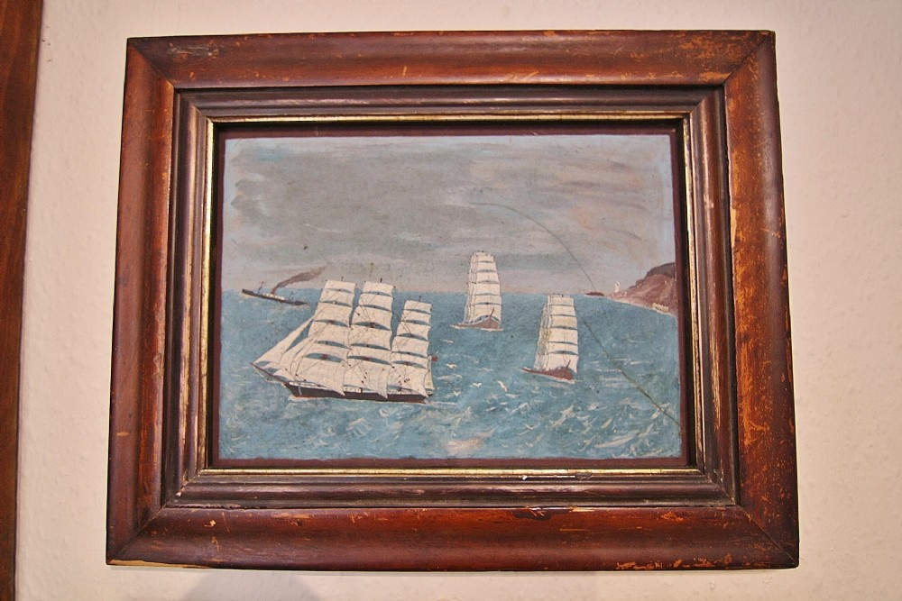 late 19th century naive ships painting on advertizing board