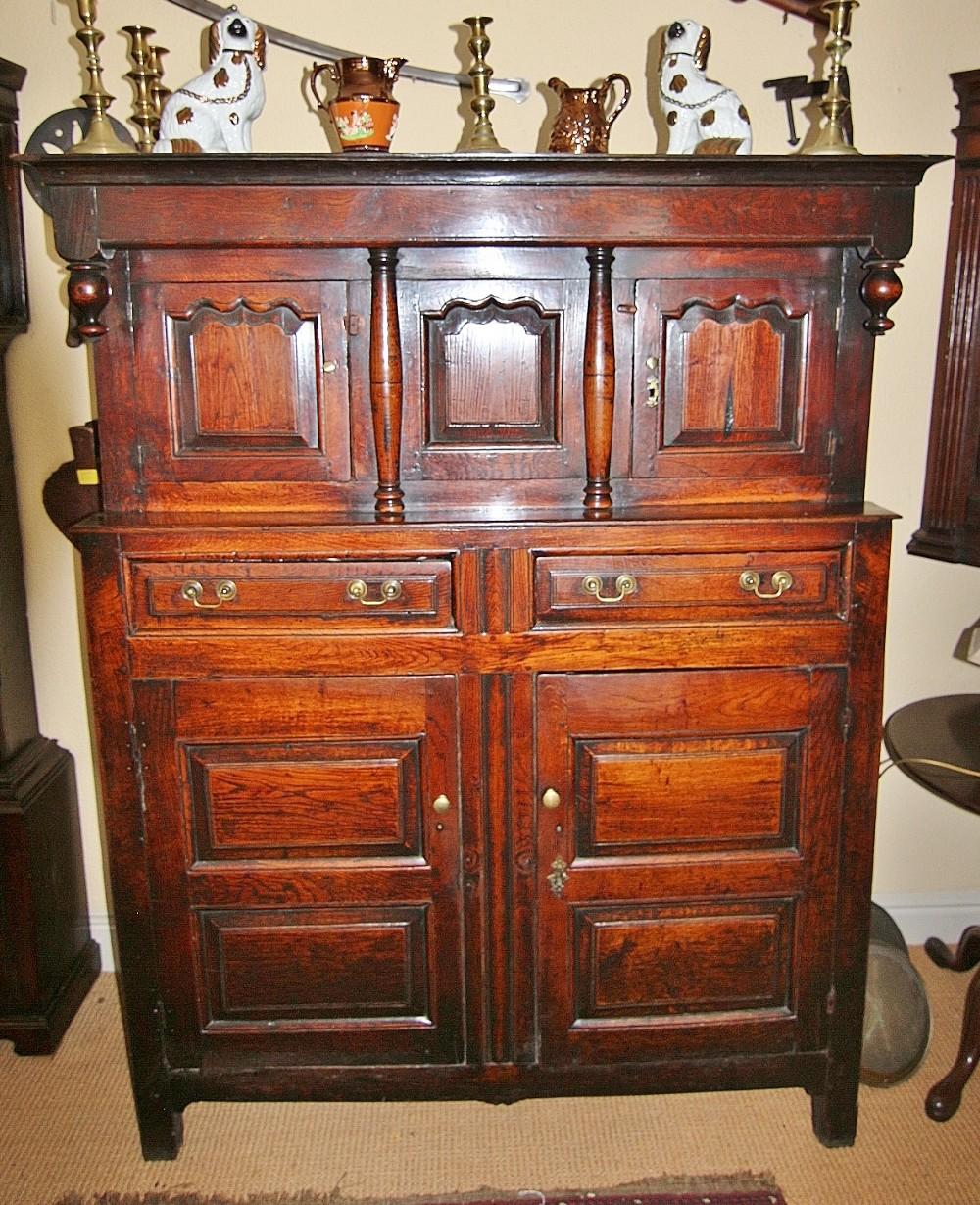 superb 18th century welsh oak deuddarn or court cupboard