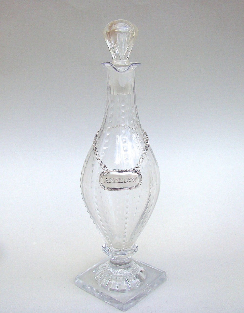 georgian cut glass condiment bottle circa 1790 with anchovy silver sauce label by matthew linwood birmingham 1814