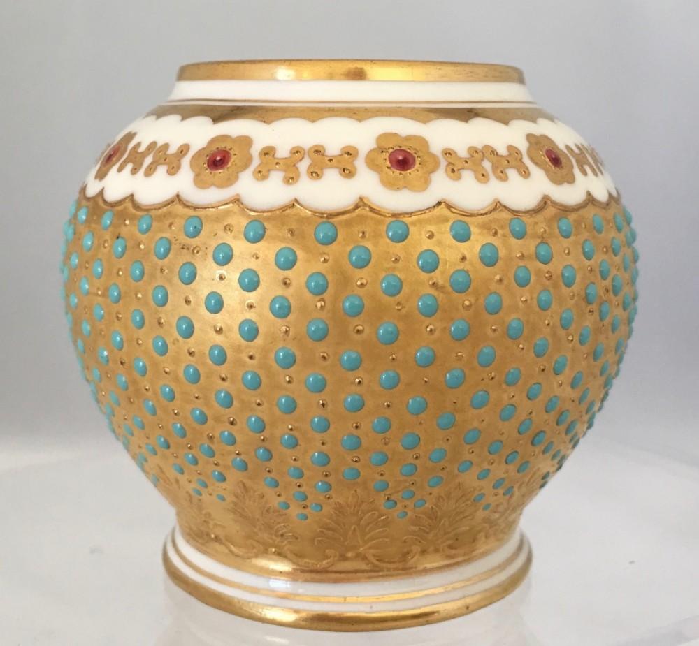 edwardian bejeweled coalport vase