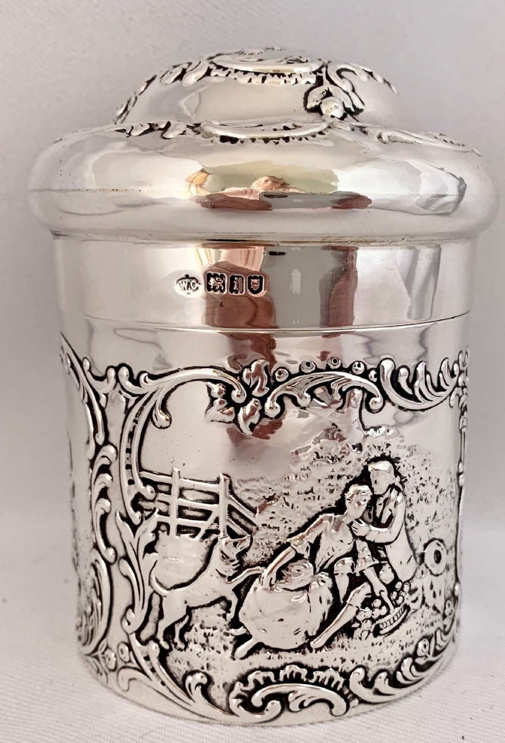 beautiful sterling silver reposse decorated canister