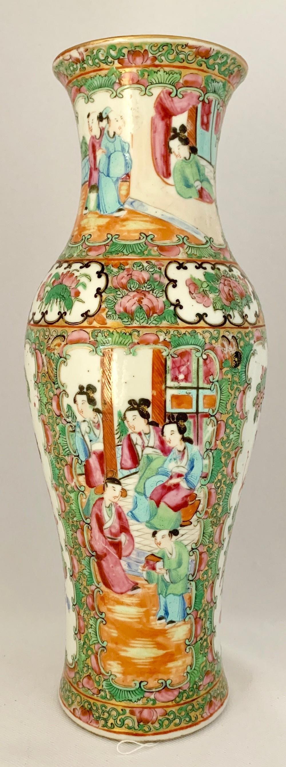 cantonese four panel vase c1880
